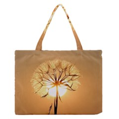 Dandelion Sun Dew Water Plants Medium Zipper Tote Bag