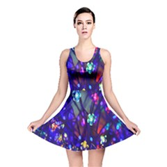 Decorative Flower Shaped Led Lights Reversible Skater Dress by Nexatart