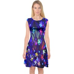 Decorative Flower Shaped Led Lights Capsleeve Midi Dress by Nexatart