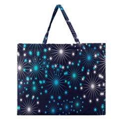 Digitally Created Snowflake Pattern Zipper Large Tote Bag