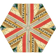 Digitally Created Collage Pattern Made Up Of Patterned Stripes Mini Folding Umbrellas