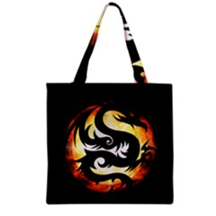 Dragon Fire Monster Creature Grocery Tote Bag by Nexatart