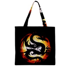 Dragon Fire Monster Creature Zipper Grocery Tote Bag by Nexatart
