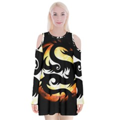 Dragon Fire Monster Creature Velvet Long Sleeve Shoulder Cutout Dress by Nexatart