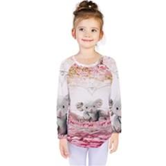 Elephant Heart Plush Vertical Toy Kids  Long Sleeve Tee