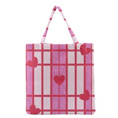 Fabric Magenta Texture Textile Love Hearth Grocery Tote Bag by Nexatart