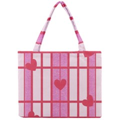Fabric Magenta Texture Textile Love Hearth Mini Tote Bag by Nexatart