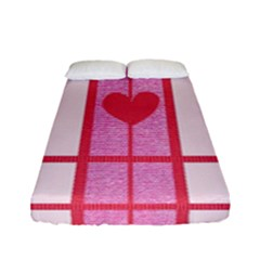 Fabric Magenta Texture Textile Love Hearth Fitted Sheet (full/ Double Size)