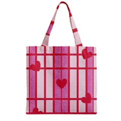 Fabric Magenta Texture Textile Love Hearth Zipper Grocery Tote Bag by Nexatart
