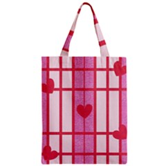 Fabric Magenta Texture Textile Love Hearth Zipper Classic Tote Bag by Nexatart