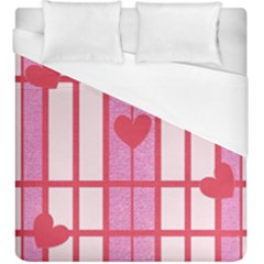Fabric Magenta Texture Textile Love Hearth Duvet Cover (king Size) by Nexatart