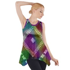 Embroidered Fabric Pattern Side Drop Tank Tunic