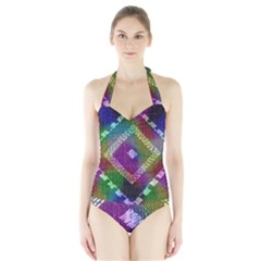 Embroidered Fabric Pattern Halter Swimsuit