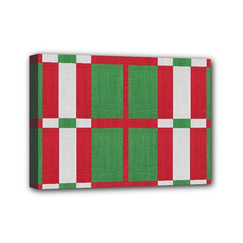 Fabric Green Grey Red Pattern Mini Canvas 7  X 5  by Nexatart