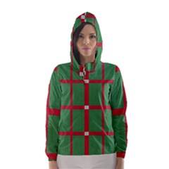 Fabric Green Grey Red Pattern Hooded Wind Breaker (women)