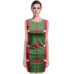 Fabric Green Grey Red Pattern Classic Sleeveless Midi Dress