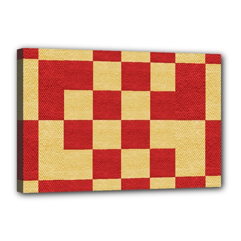 Fabric Geometric Red Gold Block Canvas 18  X 12  by Nexatart