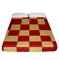 Fabric Geometric Red Gold Block Fitted Sheet (california King Size) by Nexatart
