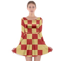 Fabric Geometric Red Gold Block Long Sleeve Skater Dress by Nexatart