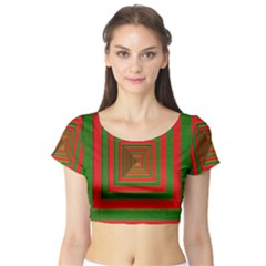 Fabric Texture 3d Geometric Vortex Short Sleeve Crop Top (tight Fit)