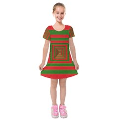 Fabric Texture 3d Geometric Vortex Kids  Short Sleeve Velvet Dress by Nexatart