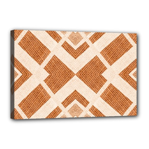 Fabric Textile Tan Beige Geometric Canvas 18  X 12  by Nexatart