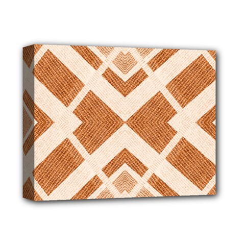 Fabric Textile Tan Beige Geometric Deluxe Canvas 14  X 11  by Nexatart