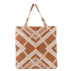 Fabric Textile Tan Beige Geometric Grocery Tote Bag by Nexatart