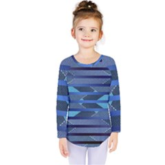 Fabric Texture Alternate Direction Kids  Long Sleeve Tee