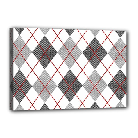 Fabric Texture Argyle Design Grey Canvas 18  X 12  by Nexatart