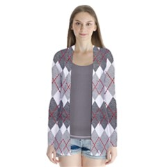 Fabric Texture Argyle Design Grey Cardigans
