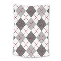 Fabric Texture Argyle Design Grey Small Tapestry
