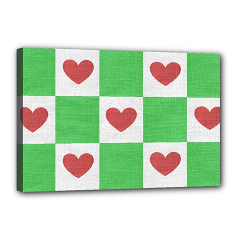 Fabric Texture Hearts Checkerboard Canvas 18  X 12  by Nexatart