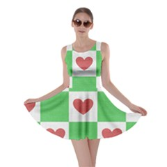 Fabric Texture Hearts Checkerboard Skater Dress