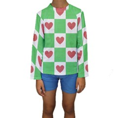 Fabric Texture Hearts Checkerboard Kids  Long Sleeve Swimwear