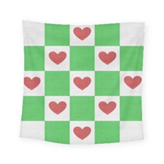 Fabric Texture Hearts Checkerboard Square Tapestry (small) by Nexatart