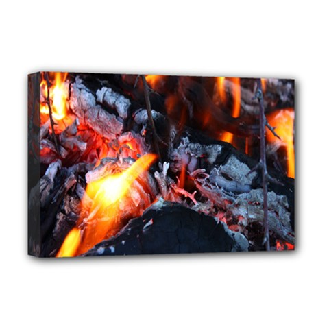 Fire Embers Flame Heat Flames Hot Deluxe Canvas 18  X 12