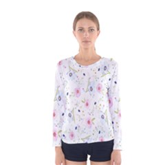 Floral Pattern Background  Women s Long Sleeve Tee by Nexatart