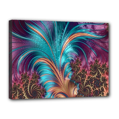 Feather Fractal Artistic Design Canvas 16  X 12  by Nexatart