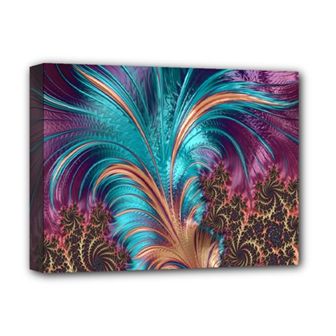 Feather Fractal Artistic Design Deluxe Canvas 16  X 12   by Nexatart