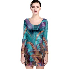 Feather Fractal Artistic Design Long Sleeve Bodycon Dress by Nexatart