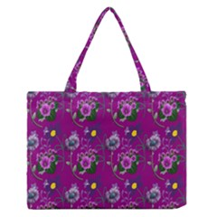 Flower Pattern Medium Zipper Tote Bag by Nexatart
