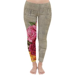Flower Floral Bouquet Background Classic Winter Leggings by Nexatart