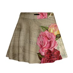 Flower Floral Bouquet Background Mini Flare Skirt