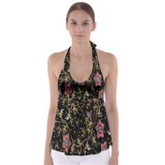 Floral Pattern Background Babydoll Tankini Top by Nexatart