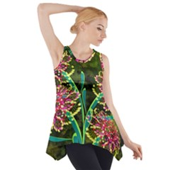 Flowers Abstract Decoration Side Drop Tank Tunic
