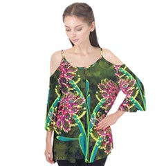 Flowers Abstract Decoration Flutter Tees