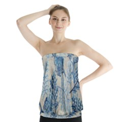 Flowers Blue Patterns Fabric Strapless Top