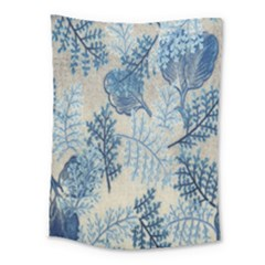 Flowers Blue Patterns Fabric Medium Tapestry