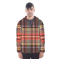 Fabric Texture Tartan Color Hooded Wind Breaker (men)